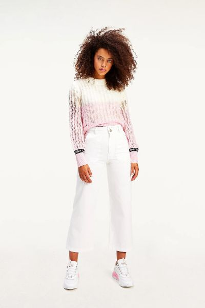 Tommy Hilfiger Badge Ankle Cut Off Trousers White