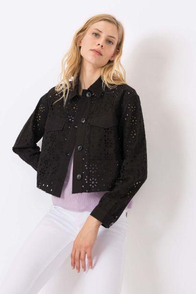 Tiffosi Shay Broderie Crop Jacket Black