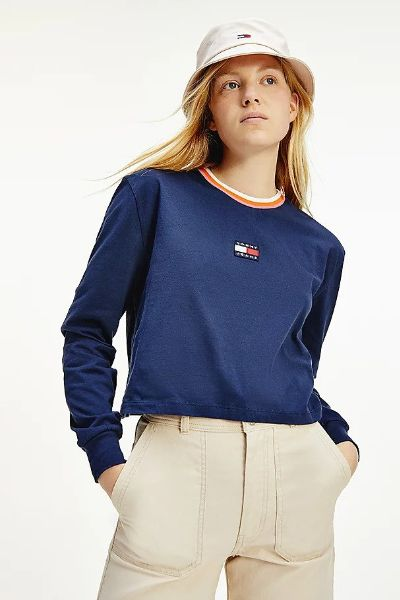 Tommy Hilfiger Rainbow Collar Long Sleeve Tshirt Navy
