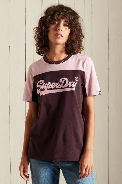 Superdry American Classic Colourblock Tshirt Burgandy
