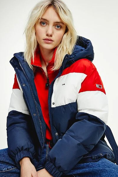 Tommy Hilfiger Colourblocked Belted Down Puffer Jacket