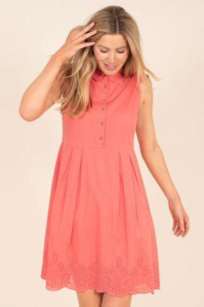 Brakeburn Broderie Shirt Dress Peach