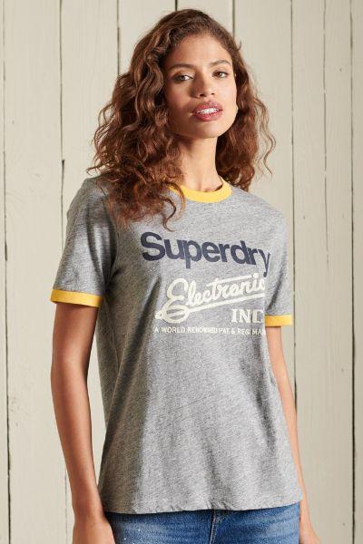 Superdry American Classic Ringer Tshirt Grey