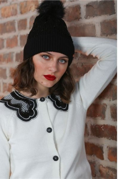 Rant And Rave Emma Sequin Hat Black