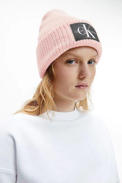 Calvin Klein Monogram Wool Blend Beanie Pink