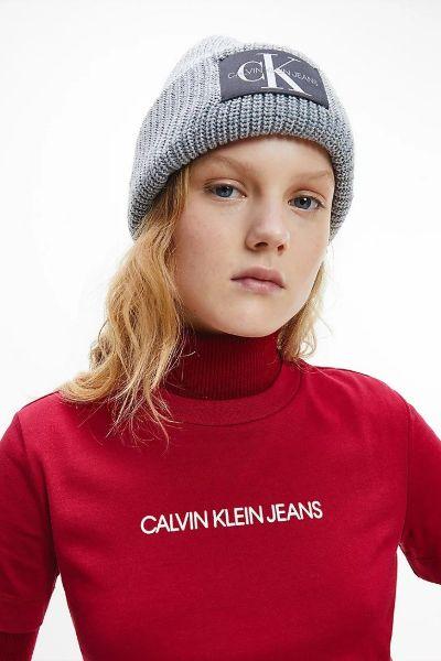 Calvin Klein Monogram Wool Blend Beanie Grey