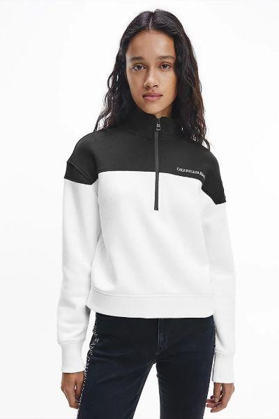 Calvin Klein Colourblock Half Zip Black/White