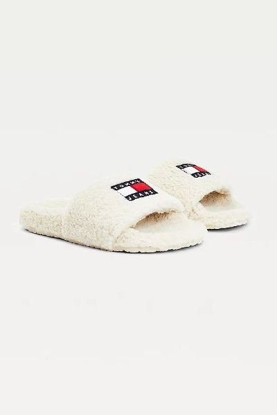 Tommy Hilfiger Badge Sherpa Sliders Smooth Stone