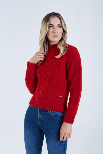 Diesel Laila Cable Knit Jumper Chilli Red